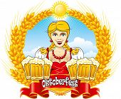 Bavarian Oktoberfest beauty girl with beer, detailed vector illustration