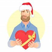 Businessman In Santa Claus Hat. Man Gives Heart. Gift Giving Illustration poster