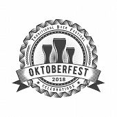 Oktoberfest Celebration. Beer Festival Retro Style Badge, Label, Emblem. Black On White Background. poster