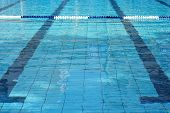 Lanes Of A Competition Swimming Pool. Empty Swimming Pool With Lanes. Empty Swimming Pool With Lanes poster