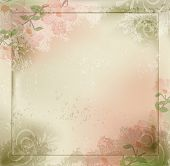 Vector grunge, vintage background with flowers and a frame