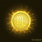 Scorpio Sign. Horoscope Symbol With Sparkles, Glitters And Stars poster