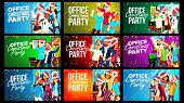 Office Christmas Party Banner Set Vector. Celebrating. Merry Christmas And Happy New Year. Having Fu poster