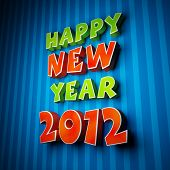 picture of new years celebration  - Happy new year 2012 on strip blue background - JPG