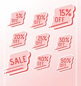 Set Of Vector Colorful Abstract Sale Stickers, Icons, Labels, Tags. Bright Design For Stickers, Web  poster