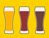 Beer Glasses. Three Versions Light Beer, Dark Beer And Amber Beer. Isolated Vector Illustration. poster