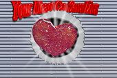 Background, Metal Wall Checker Plate With Hole And Heart With Inscription In  English - Your Heart C poster