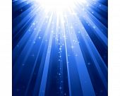 stock photo of descending  - Festive blue square abstract background with stars descending on rays of light - JPG
