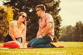 Love Romance Valentines Relationship Dating Concept. Cheerful Affectionate Couple On Picnic. Young L poster