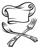 picture of chefs hat  - chef hat with spoon and fork - JPG