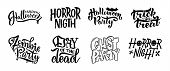 Set Of Postcard For Happy Halloween. Modern And Stylish Hand Drawn Lettering. Quotes. Horror. Boo. T poster