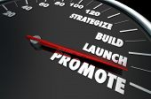 Strategize Build Launch Promote Speedometer Words 3d Illustration poster