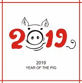 The Logo Of The Year Of The Pig. Head And Lettering. Zodiac Chinese Symbol 2019. Silhouette Of A Pig poster