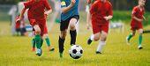 Running Soccer Football Players. Footballers Kicking Football Match. Soccer School Tournament. Young poster