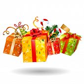 pic of christmas ornament  - Four jumping bright Christmas gifts - JPG