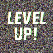 Level Up Glitch Text. Anaglyph 3d Effect. Technological Retro Background. Vector Illustration. Creat poster