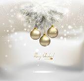 Постер, плакат: Свет Рождества фон с Серебряный вечером шарики