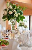stock photo of flower vase  - Table setting for a wedding or dinner event - JPG