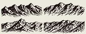 Set Of Isolated Huge Mountains Silhouettes. Vector Mountain Ranges Illustrations. poster