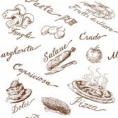 stock photo of agaricus  - italian food seamless pattern - JPG