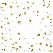 Gold Flying Stars Confetti Magic Christmas Frame Vector, Premium poster