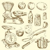 stock photo of hand drawn  - hand drawn kitchen set - JPG
