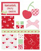 Pretty cherry patterns. Use to print onto fabric for home baking or as backgrounds or other decor pr