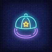 Snapback Neon Sign. Luminous Signboard With Headwear. Night Bright Advertisement. Vector Illustratio poster
