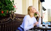 Pleasant Thoughts. Enjoy Her Life. Woman Blonde Dreamy Smiling Face Enjoy Having Coffee, Urban Backg poster