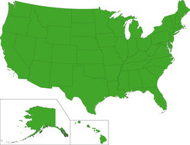 image of united states map  - Green map of the United States of America with state borders - JPG