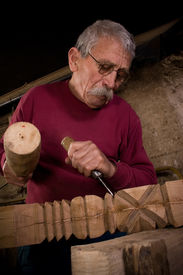 picture of woodcarving  - Old woodcarver work in the workshop 6 - JPG