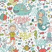 Постер, плакат: Забавный цвет бесшовные рисунка с морем live