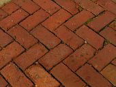 Herringbone Patter Of Red Bricks