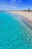 stock photo of tanga  - Formentera Llevant tanga beach with perfect turquoise water - JPG