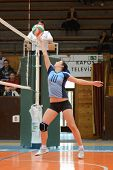 KAPOSVAR, HUNGARY - MARCH 16: Petra Kulcsar in action at the Hungarian Championship volleyball game