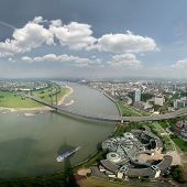 Panoramic Picture Of River Rhine Und DüSseldorf, Large Size