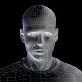 image of cyborg  - High resolution concept or conceptual 3D wireframe human male head isolated on black background as metaphor for technology - JPG