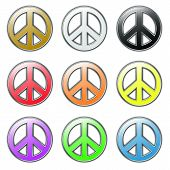 image of woodstock  - Set of peace colored icons from sixtees hippies - JPG