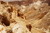 stock photo of zealots  - Ruins at Masada with Dead Sea in background - JPG
