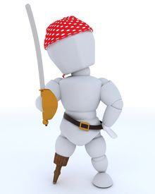 picture of peg-leg  - 3D Render of man dressed as a pirate with peg leg - JPG