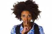 pic of shhh  - Young afro american saying shhh - JPG