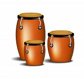 foto of congas  - Congas the percussion of music band with shadow on white background - JPG