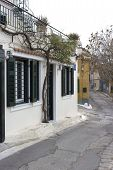 picture of akropolis  - white house in greece old town near akropolis - JPG