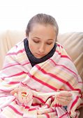 stock photo of pharyngitis  - Body temperature control before taking the medication - JPG