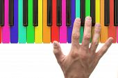 foto of rainbow piano  - Rainbow piano keyboard with hand on white background - JPG