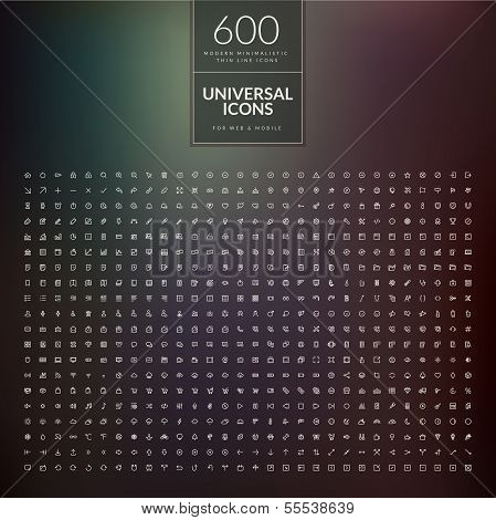 Set of 600 universal modern thin line icons for web and mobile poster