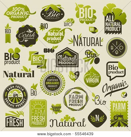 Natural Organic Product Labels, Emblems And Badges. Set Of Vector Design Elements poster