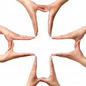 Постер, плакат: Большой медицинский крест символом из рук изолированные