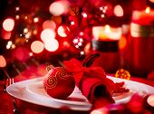 stock photo of adornment  - Christmas And New Year Holiday Table Setting - JPG