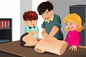 stock photo of cpr  - A vector illustration of kids practicing CPR on a mannequin with their instructor - JPG